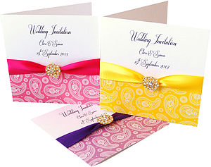 Paisley Print Wedding Invitation - wedding stationery