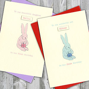 Personalised First Birthday Bunny Card