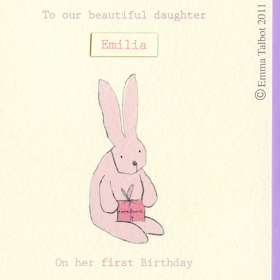 Pink Bunny Girls First Birthday Card