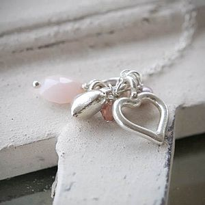 Opal And Silver Heart Necklace