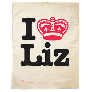 'I Love Liz' Tea Towel