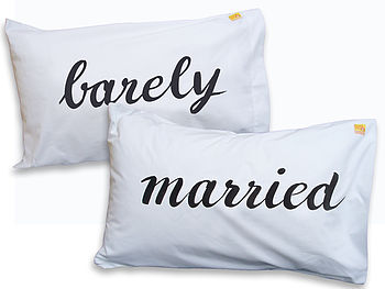 Personalised 'Barely Married' Pillowcase Set