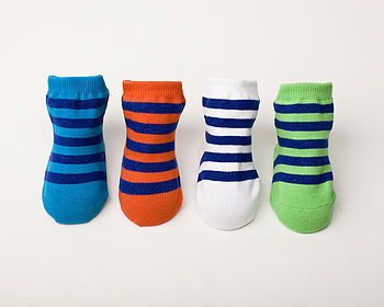 Set Of Four Striped Baby Socks