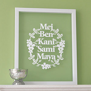 Personalised Family Papercut Art