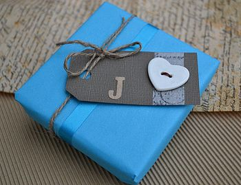 Initial Gift Tag With Button
