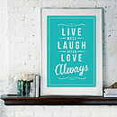 'Live, Laugh, Love' Fine Art Retro Print