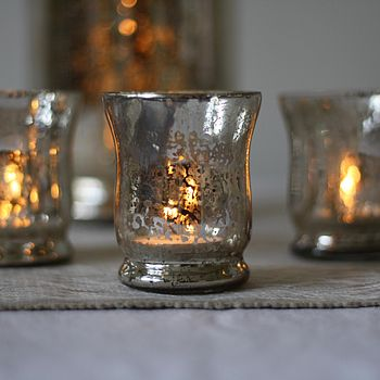 Set Of Three Mercury Silver Tea Light Holders