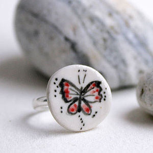 Ceramic Porcelain Butterfly Ring