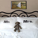Set Of Two 'Mr' And 'Mrs' Pillowcases: black and grey