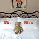 Set Of Two 'Mr' And 'Mrs' Pillowcases: red and orange