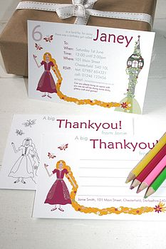 Rapunzel Party Invites Or Thank You Notes