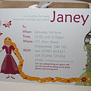 Fully personalised Rapunzel party invite
