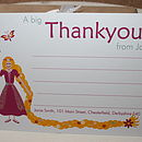 Full colour Rapunzel thank you note