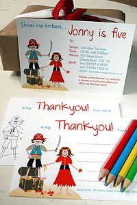 Pirate And Princess Invites Or Thank Yous - parties