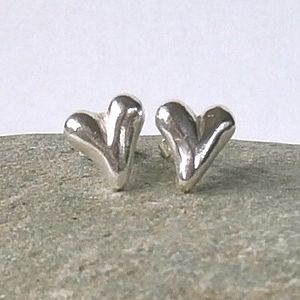 Solid Silver Heart Stud Earrings - earrings