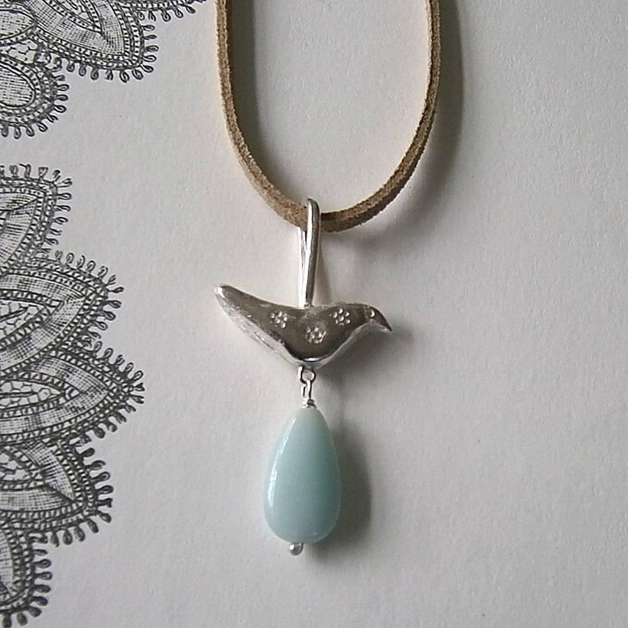 Bird With Gem Drop Necklace