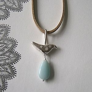 Bird With Gem Drop Necklace - necklaces & pendants