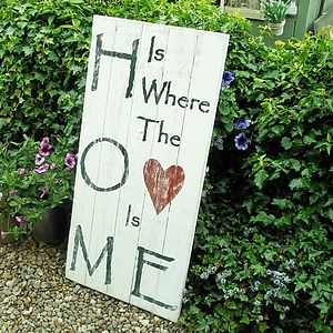 Personalised 'Home Is Where The Heart Is'Sign - room decorations
