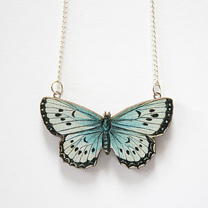 Zooey Wooden Butterfly Necklace - necklaces & pendants