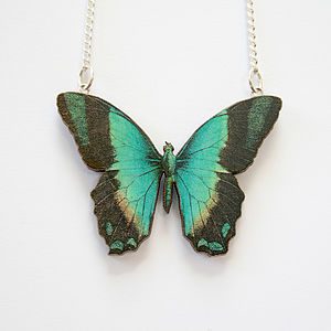 Kiera Wooden Butterfly Necklace - necklaces & pendants