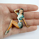 Betty Wooden Pin Up Girl Brooch
