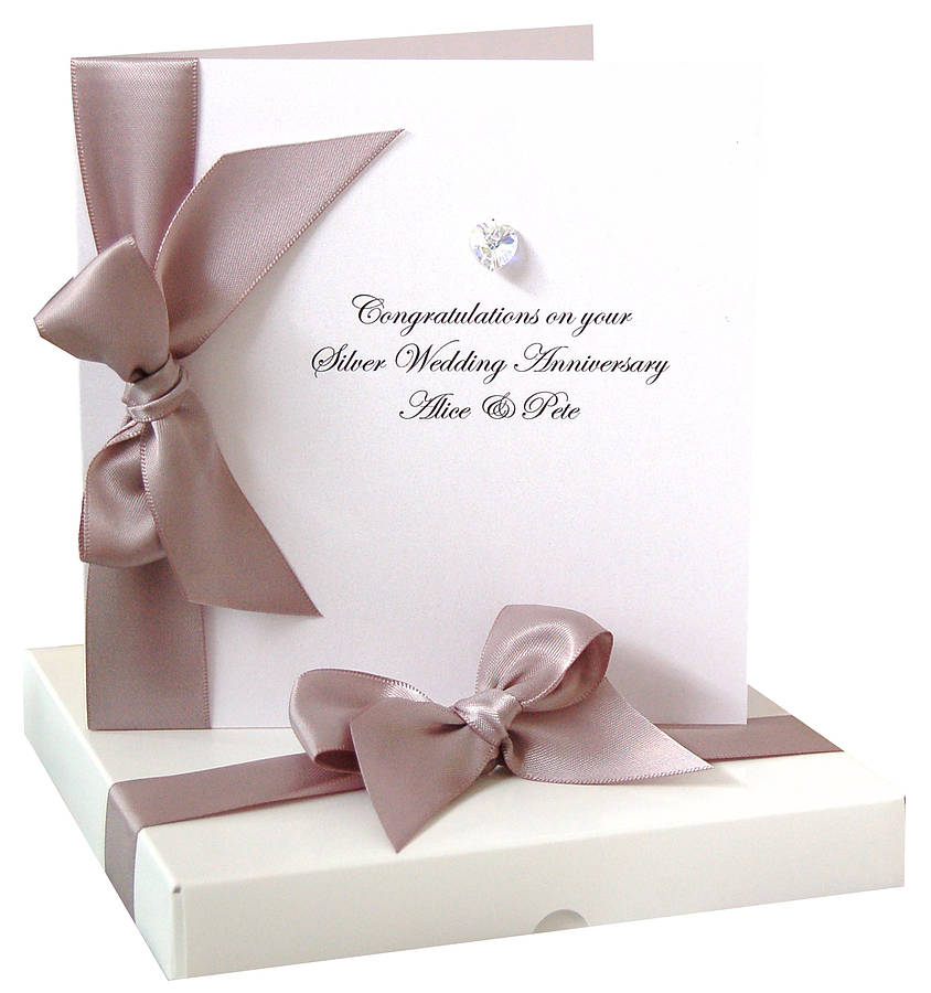 Bedazzled Silver Personalised Wedding Anniversary Card By Made With Love Designs Ltd