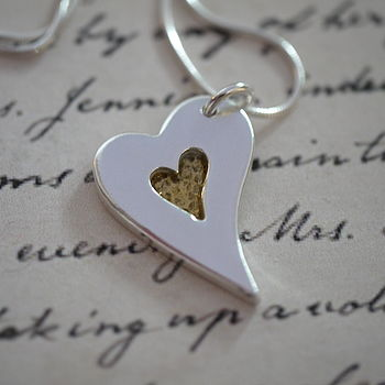 Personalised Silver And Gold Heart Necklace