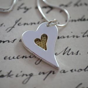 Personalised Silver And Gold Heart Necklace - necklaces & pendants