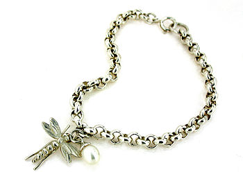 Silver Dragonfly And Pearl Bracelet
