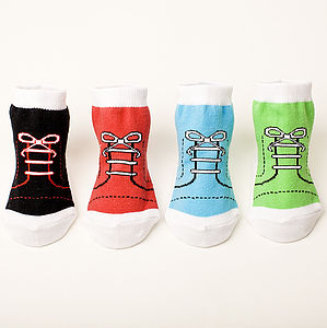 Set Of Four High Top Baby Socks - socks, tights & booties
