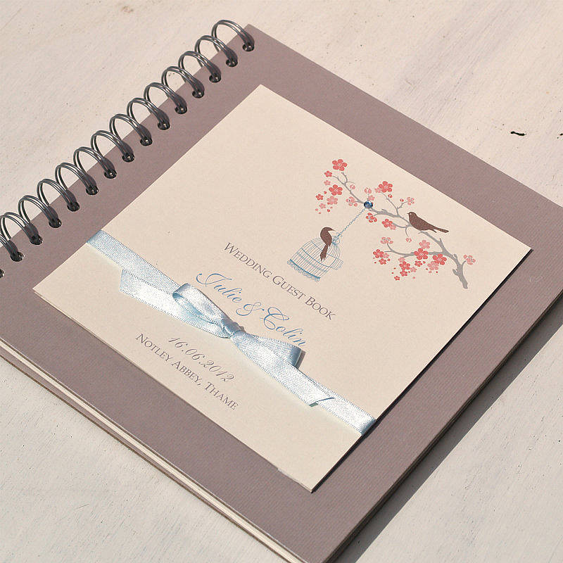 Wedding Guest Book Cover Ideas : Love birds personalised wedding guest book by beautiful