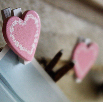 Set Of Eight Heart Pegs