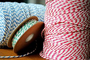 Coloured Striped Twine 5m - ribbon & wrap
