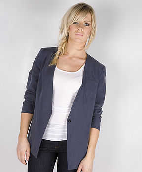 Collarless Blue Linen Blazer