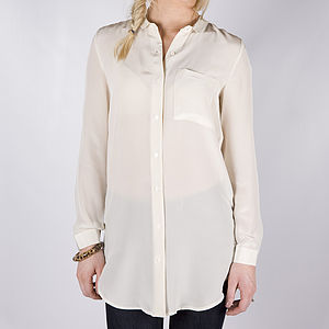Flore Cream Silk Shirt - women's fashion
