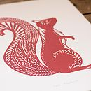 Close up of Red Squirrel screen print
