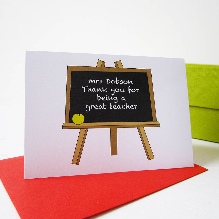 personalised teacher thank you cardmrs l cards