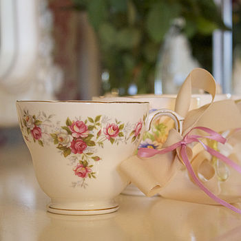 Set Of Five Vintage Teacup Tea Light Favours