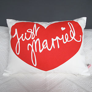 'Just Married' Screen Print Wedding Cushion