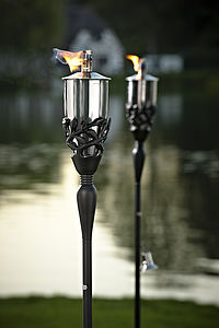 Pair Of Leaf Detail Steel Garden Torches - lights & lanterns