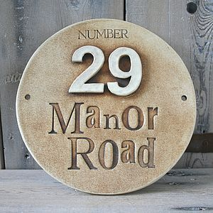 Round Ceramic House Address Sign - outdoor decorations