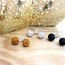 black gold and silver shamballa stud earrings
