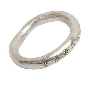 Silver Diamond Set Ring - rings