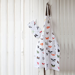 Organic Butterfly Print Cotton Apron - kitchen