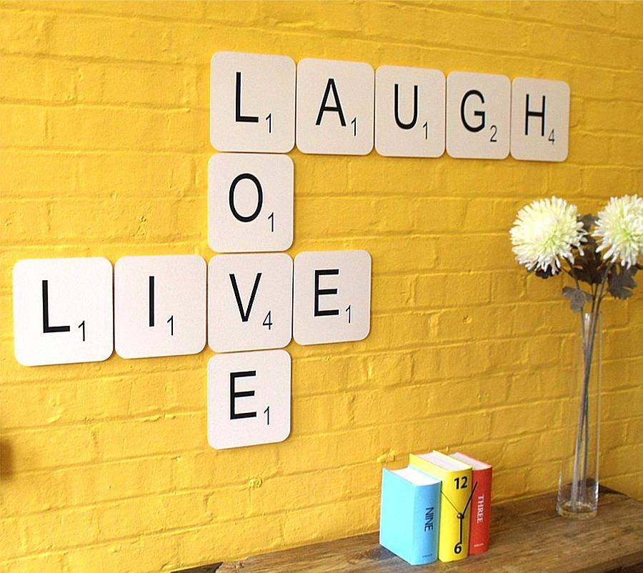 Export Portal Word Art For Walls Decor: 'live Laugh Love' Giant Scrabble Wall Tiles By Copperdot