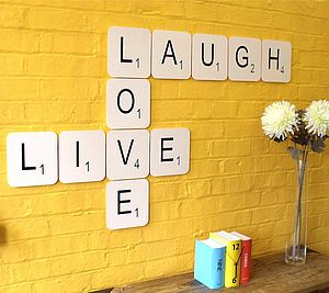 'Live Laugh Love' Giant Scrabble Wall Tiles