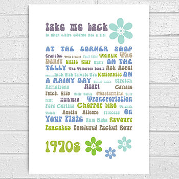 Retro 1970s Personalised Memories Print