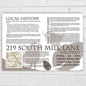 Personalised New Home House History Print
