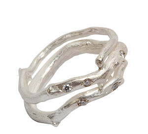 Silver And Diamond Wrap Around Ring - rings