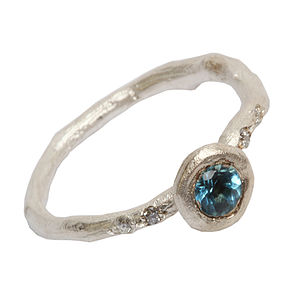 Silver Blue Topaz And Diamond Ring - rings